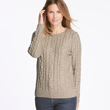 Women's Double L Mixed Cable Sweater, Crewneck Pullover Marled   Free Shipping at L.L.Bean