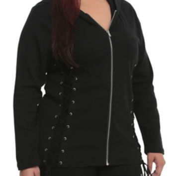 Tripp Black Lace-Up Hoodie Plus