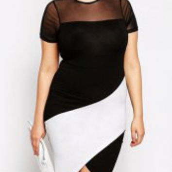 Color Block Gauze Short Sleeve Furcal Bodycon Plus Size Dress