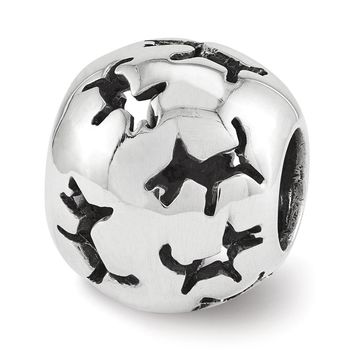 Sterling Silver Cutout Dog Silhouette Bead Charm