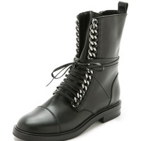 Leather & Chain Combat Boots