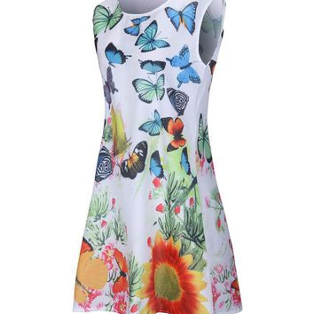 Casual Butterfly Floral Printed Longline Sleeveless T-Shirt