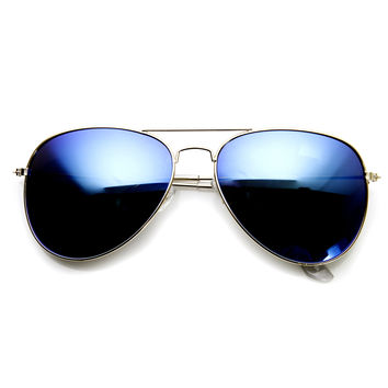 Gold Metal Frame Aviator Sunglasses Color Mirror Lenses 1495