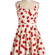 ModCloth Fruits Mid-length Tank top (2 thick straps) A-line Pull Up a Cherry Dress in White