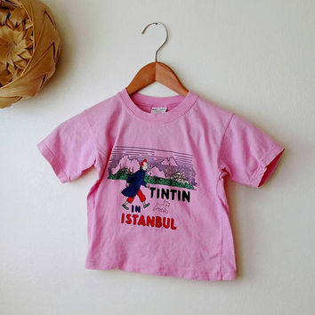 Vintage Childrens Shirt /  Tin Tin Shirt / Istanbul / Pink / size 1 / Girls shirt /