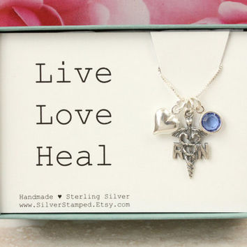 Gift for Nurse necklace Sterling silver RN charm heart birthstone necklace, Live Love Heal graduation gift for registered nurse graduate