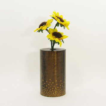 Wood Bud Vase, Wood Test Tube Vase, One Flower Vase, Wooden Bud Vase Centerpiece, Painted Vase, Rustic Home, Home Decor, Aged Gold Dots