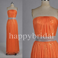 Elegant strapless Sequined Orange Prom Dresses Party Dresses Evening Dresses Bridesmaid Dresses 2014 Wedding Occasions