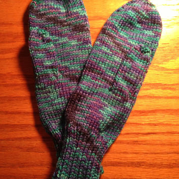Aqua Purple Variegated Ladies Knitted Mittens - Shades of Purple and Aqua