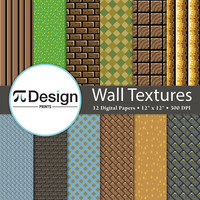 "Wall Textures 12""x12"" Digital Paper Pack of 12 