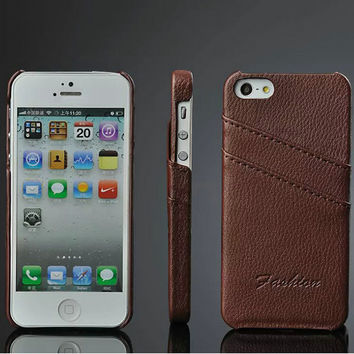 Genuine Leather Case For iPhone 5 For iPhone 5s Litchi Skin Phone Case Original FASHION Logo With Card Holders 5 Colors Cover