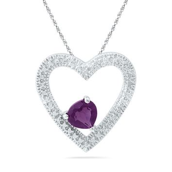 Sterling Silver Women's Round Lab-Created Amethyst Solitaire Heart Pendant 5-8 Cttw - FREE Shipping (US/CAN)