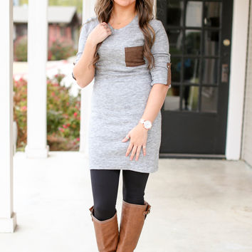 Saturday Morning Sweater Dress - Heather Grey
