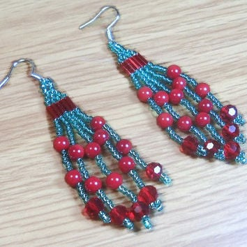 Beaded Earrings In Greens and Reds Dangle Earrings