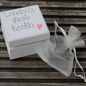 Personalised Baby's first tooth wooden keepsake box