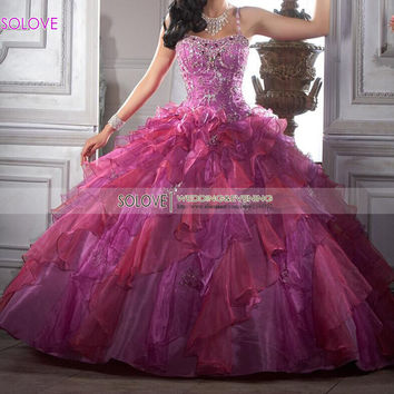 Custom Made Colorful 2016 Crystal Modern Quinceanera Dresses Sweetheart Beaded Ball Gowns Ruffles Organza Lace Up Back Q344