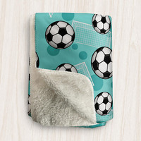 Teal Soccer Sherpa Fleece Blanket - Soccer Ball and Goal Pattern on Teal - 2 sizes available - Made to Order