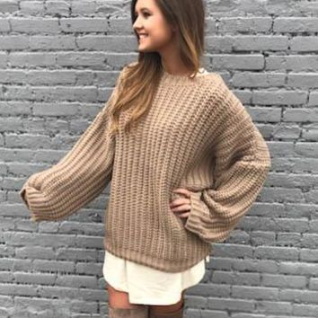 Strings Attached Mocha Sweater