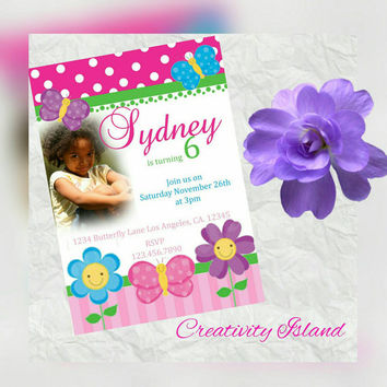 Butterfly Birthday Invitations with picture! 4x6!