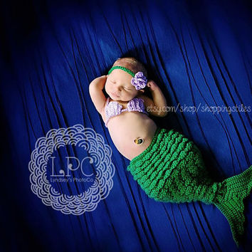 Crochet Newborn-12 Months Mermaid Photo Set