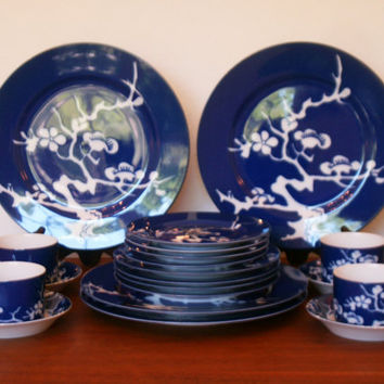"Vintage Fitz and Floyd Cobalt Blue In Glaze Blue ""Prunier de Chine"" dinnerware set 1976"