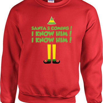 Funny Christmas Sweater Buddy The Elf Sweater Christmas Presents Holiday Season Ugly Xmas Sweater Elf Sweater Unisex Hoodie - SA411