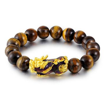 Natural Tiger Eye Beaded Mens Bracelet With Brave Troops Thermochromic Pixiu Charm Strand Bracelets Handmade Jewelry