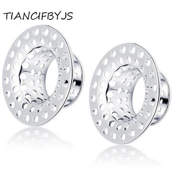TIANCIFBYJS Brass New Plugs Ear Gauge Flesh Tunnel Body Piercing Earring Jewelry Stretching Expander Earlets Silver Gold