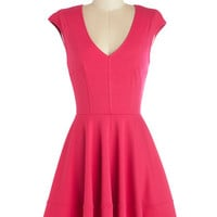 ModCloth Mid-length Cap Sleeves A-line Curtsy for Yourself Dress in Fuchsia