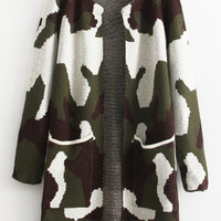Long Sleeve Camouflage Pockets Coat