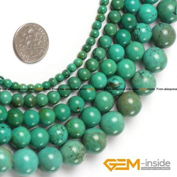 """Round Blue Turquoises Beads,natural stone bead,Fashion Jewelry Beads For Bracelet Making Strand 15"""" Free Shipping"""