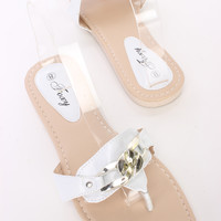 White Chain Detail Thong Sandals Faux Leather