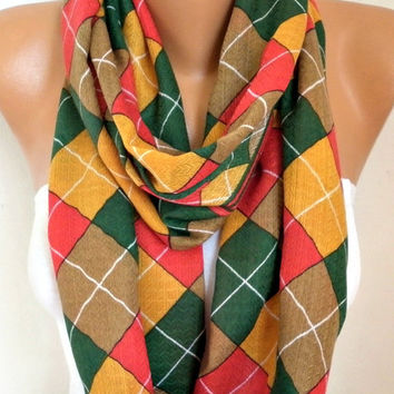 Mustard Plaid Cotton Infinity Scarf,Tartan Scarf, Cowl Scarf, Circle, Loop Oversized Gift Ideas For Her, Women Fashion Accessories