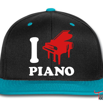 I Love Piano Logo Design Snapback