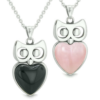 Amulets Owl Cute Hearts Love Couples Set Simulated Black Onyx Pink Cats Eye Pendant Necklaces