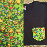 Teenage Mutant Ninja Turtles in Combat Patterned Pocket Tee - Leonardo, Raphael, Donatello, Michelangelo
