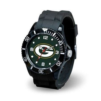Green Bay Packers Men's Sports Watch - Spirit, Heavy NFLHHGB Sparo Black Metal Sleeve NFLEXEGB ColorSilverToned Packers Womens Shirt shipping NFL Hitter Ornament.., By Hall of Fame Memorabilia