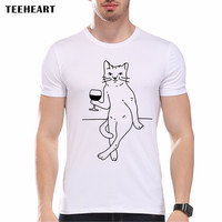Men Fashion Sexy Cat Drink Wine T shirt Novelty Tops Custom Printed Short Sleeve Hipster Tees