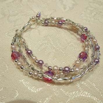 Triple Strand Sweetheart Pink Bracelet, Pearls, Faceted beads, silver beads with charm Elegant Chic Boho Bohemian Women Girls Jewelry