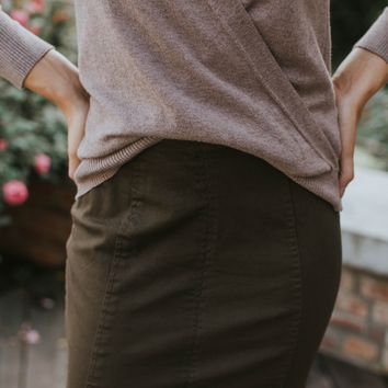 High Waisted Denim Skirt, Dark Olive