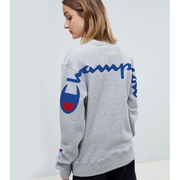 Champion Popular Women Men Casual Print Round Collar Velvet Sweater Top Sweatshirt Grey