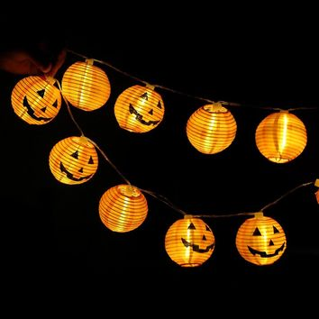 10pcs/set Halloween Pumpkin LED String Lights Warm White Hanging Lantern Lamp for Halloween Party Home Garden Decoration