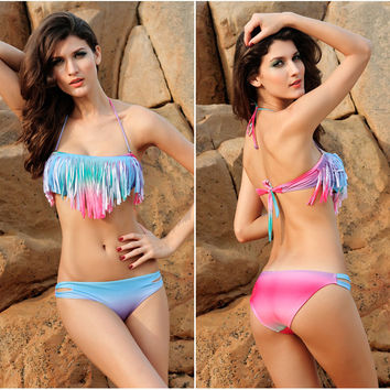 Womens Stylish Fringe Swimsuit Tassel Bikini