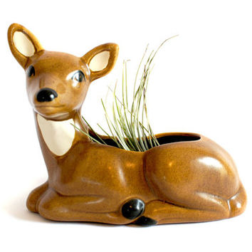 Vintage Deer Planter // Ceramic Fawn Pottery