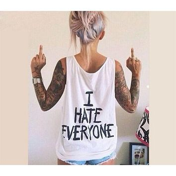 BKLD Harajuku Women T-Shirt I HATE EVERYONE TOPS Funny t shirt Women Sexy hip hop Streetwear tees Design Graphic Tee For Female