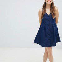 Monki Polka Dot Button Through Smock Dress In Navy at asos.com