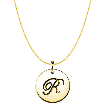 """""""R"""" 14K Yellow Gold Script Engraved Initial Disk Pendant"""