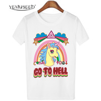 Women Casual Unicorn T-shirt Harajuku Blusa Tops Crew Neck White Short Sleeve T shirt Lady Tees