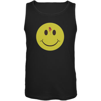 Smiley Face Bullet Hole Black Adult Tank Top