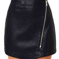 Black Asymmetrical Zippered Leather Skirt